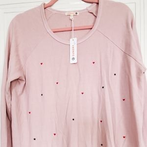 NWOT Sundry Stars and Hearts Pullover Sweatshirt S